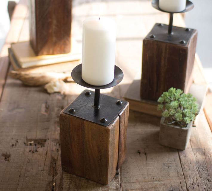 10 Distressed Wooden Candle Holder Ideas DIY