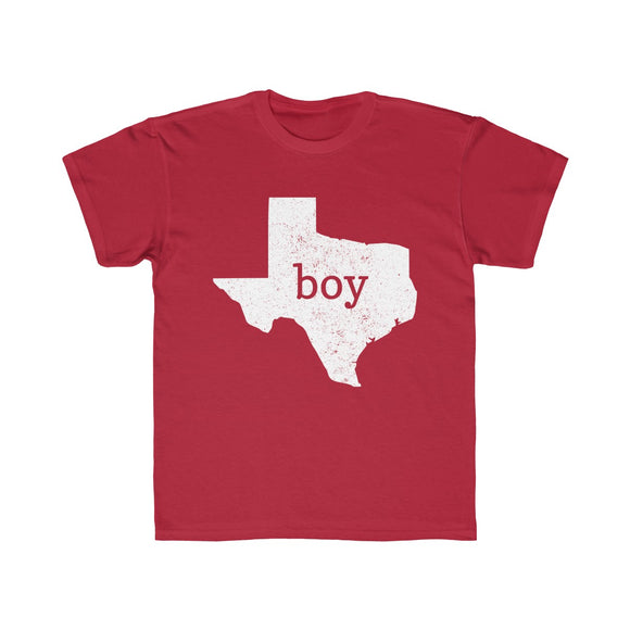 Texas Boy Outline Kids Regular Fit Tee
