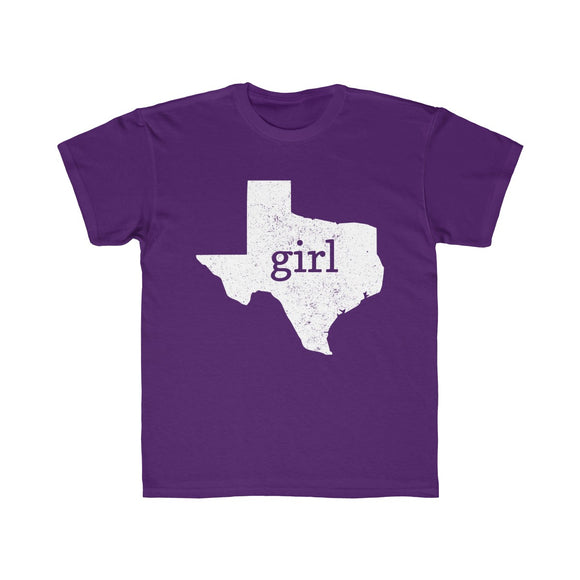 Texas Girl Outline Kids Regular Fit Tee