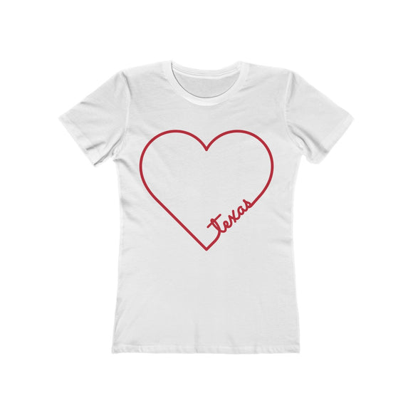 Heart Script Texas Women's Boyfriend Tee