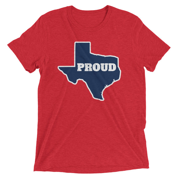 Spirit Blue/White/Red PROUD Unisex Tri-blend Tee