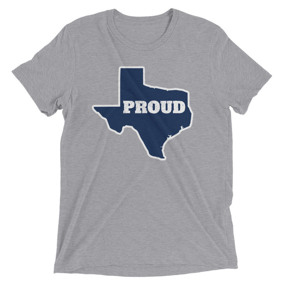 Spirit Blue/White PROUD Unisex Tri-blend Tee