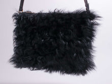 Load image into Gallery viewer, Black Curly Shearling Pouch Purse