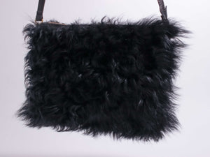 Black Curly Shearling Pouch Purse