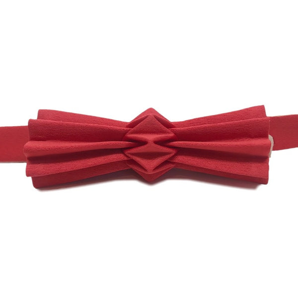 Noeud papillon origami bicolore rouge-sable