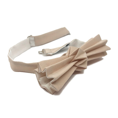 Noeud papillon origami bicolore sable-blanc
