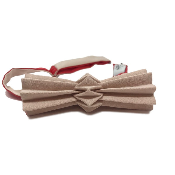 Noeud papillon origami bicolore sable-rouge