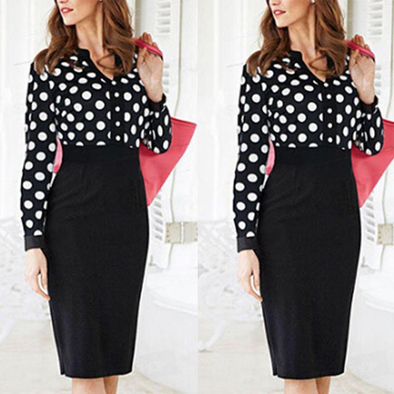 V-Neck  Cutout Patchwork Single Breasted  Bust Darts  Polka Dot Bodycon Dresses