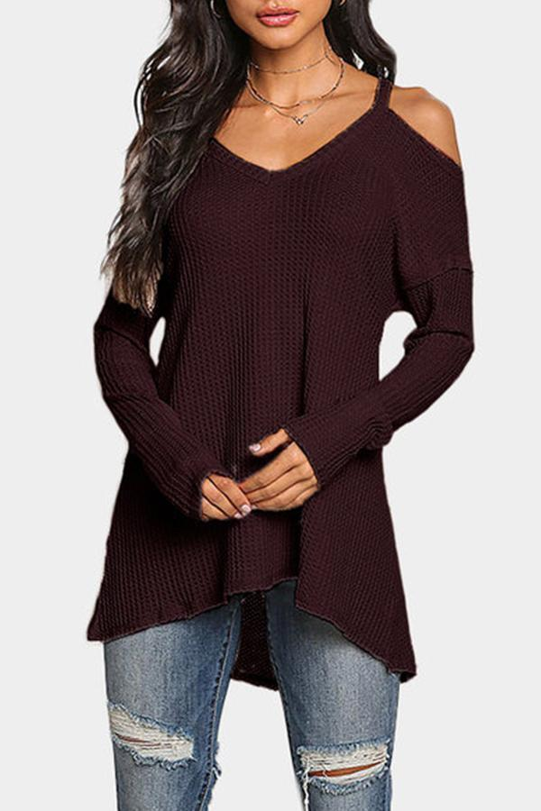 V Neck  Asymmetric Hem Cutout  Plain T-Shirts