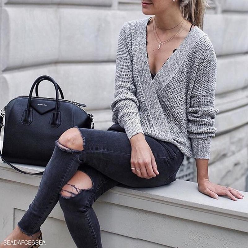 Sexy Deep V Neck Plain Casual Sweaters