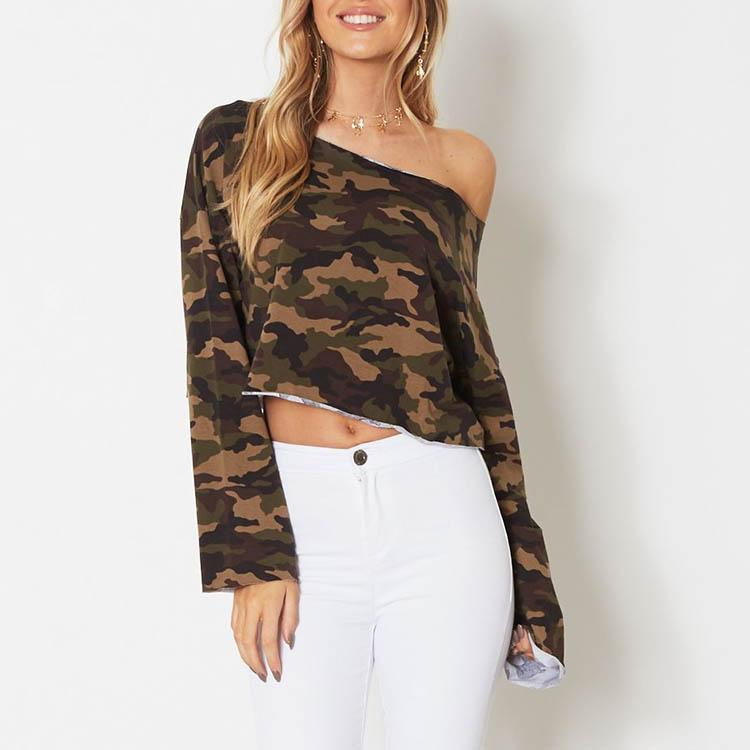 Round Collar Camouflage Long Sleeve Shirt