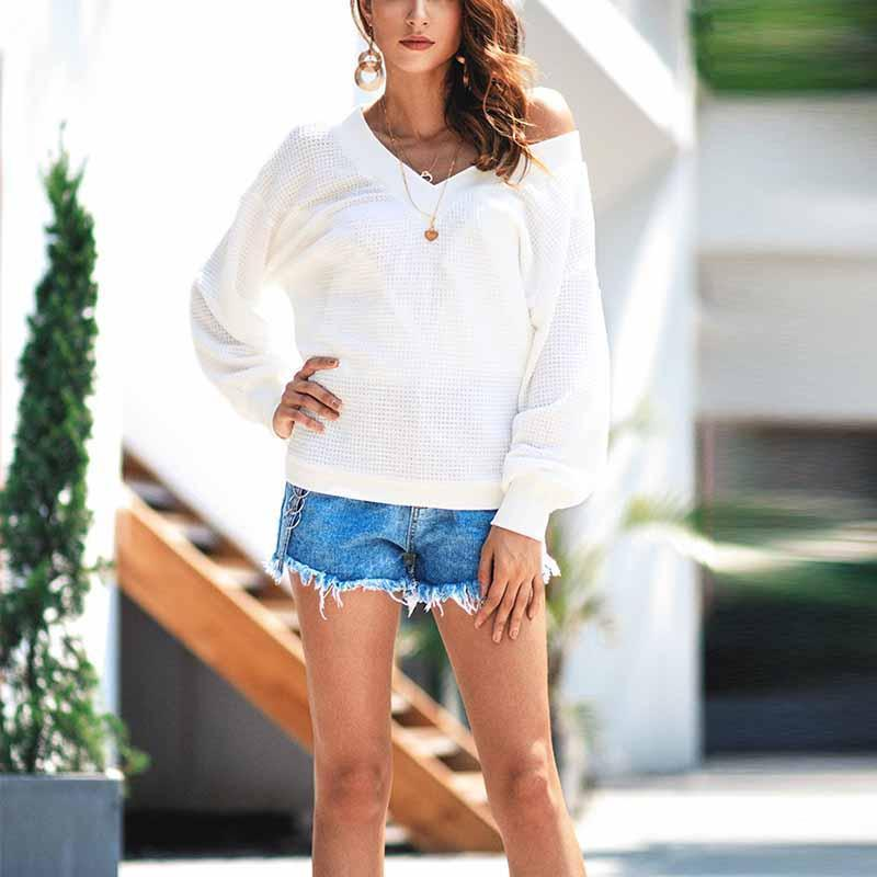 Open Shoulder Plain Long Lantern Sleeve Sweaters