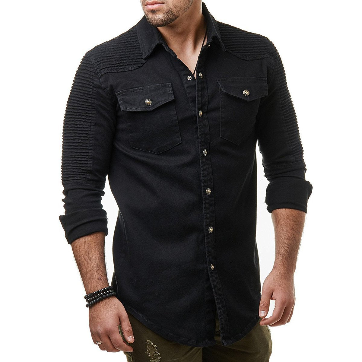 Pleated Button-Up Denim Shirt