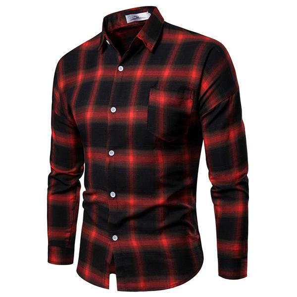 Men's Fashion Minimalist Plaid Shirt