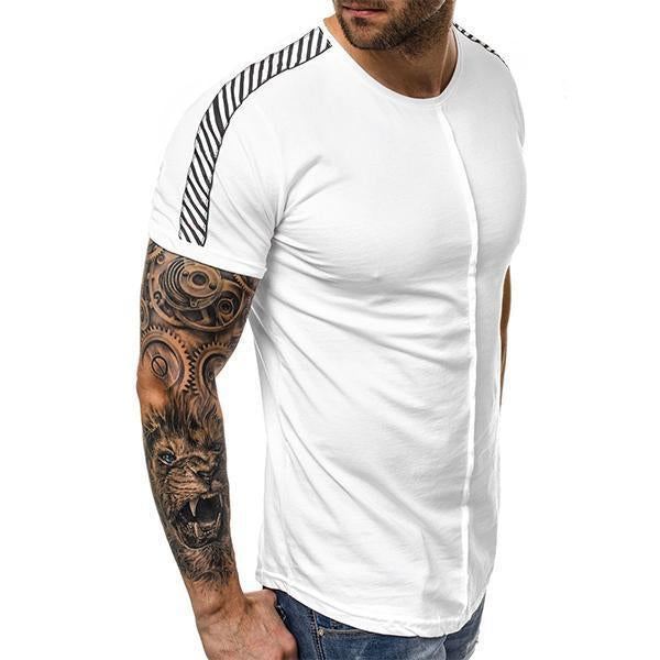 Men's Fashion Solid Color Ribbon Short Sleeve T-Shirt