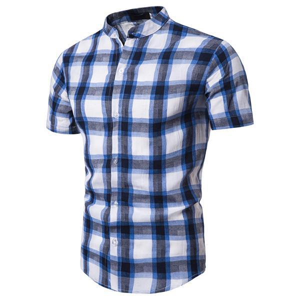 Men's Fashion Plaid Stand Collar Shirt