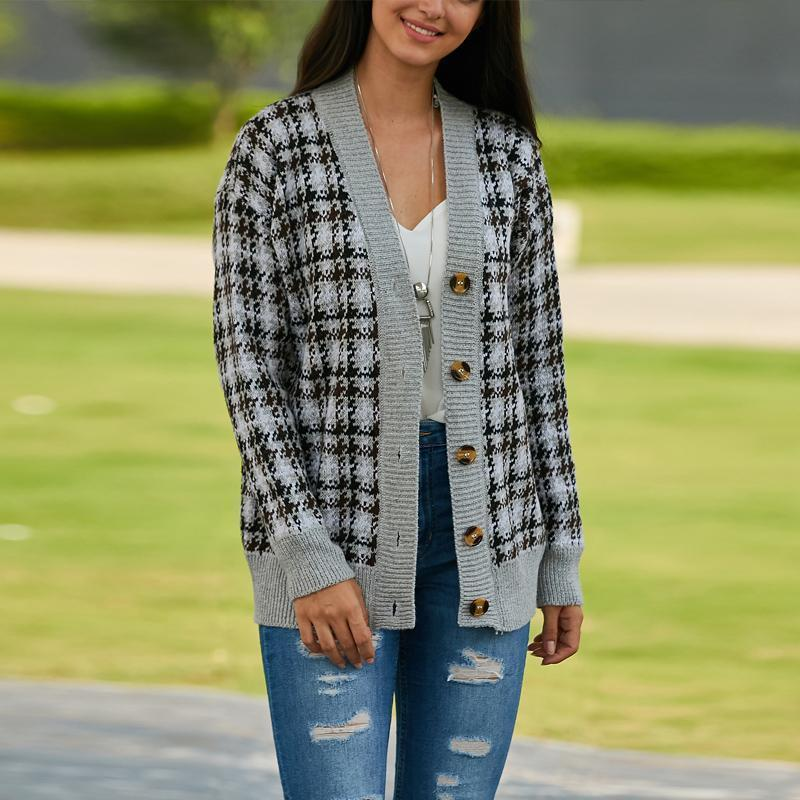V-Neck Plaid Print Button Sweater