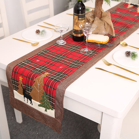 Simple Christmas Elk Small Tree Patch Plaid Tablecloth