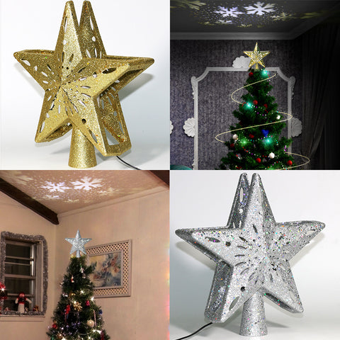 Hot LED Christmas Tree Top Star Snowflake Projector Christmas Tree Decoration Christmas Tree Dress Up Pendant
