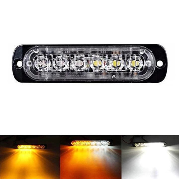 Warning Lights Ultra-thin Motorcycle Pickup 12-24v Strobe 6 Lights