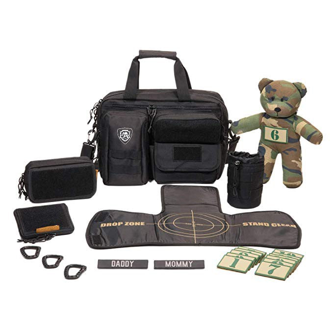Tactical Baby Diaper Bag with Changing Mat (Black)