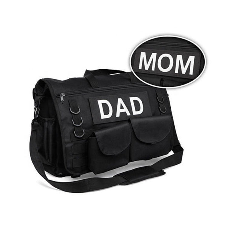 Heavy Duty Tactical Diaper Bag with MOM & DAD patches
