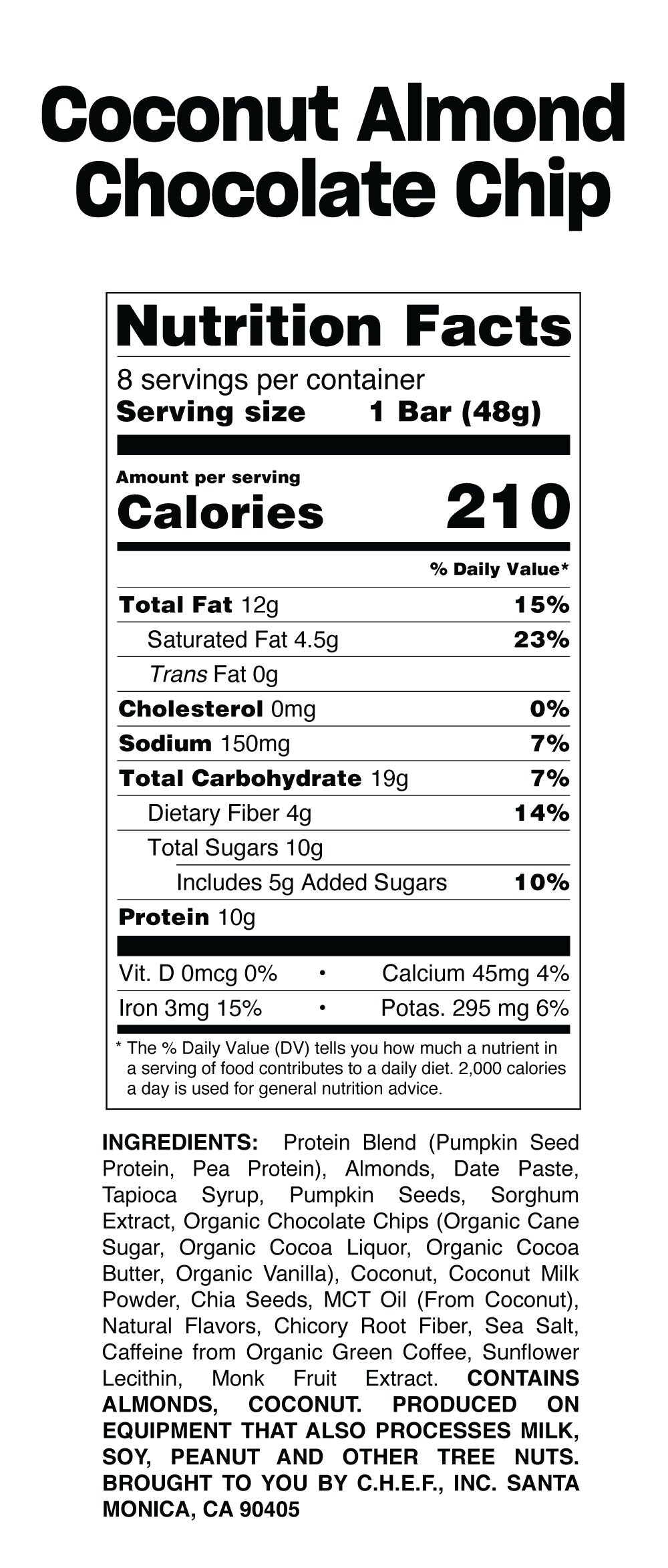 Coconut bar nutritional table