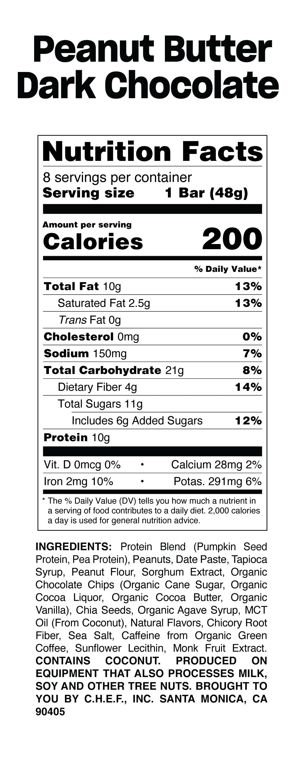 Peanut bar nutritional table