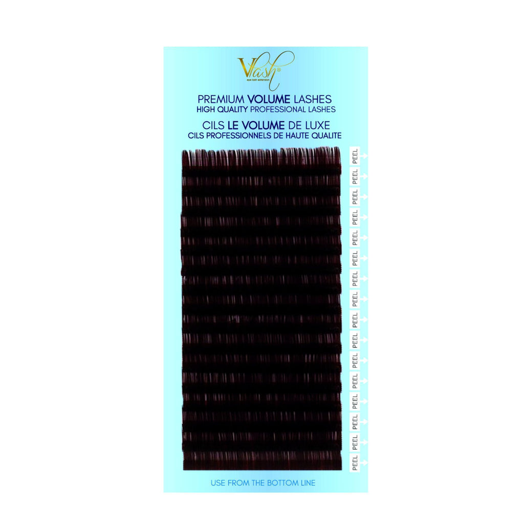 Vlash C-Curl Silk Tray Brown Colored Lashes, Mixed Pack