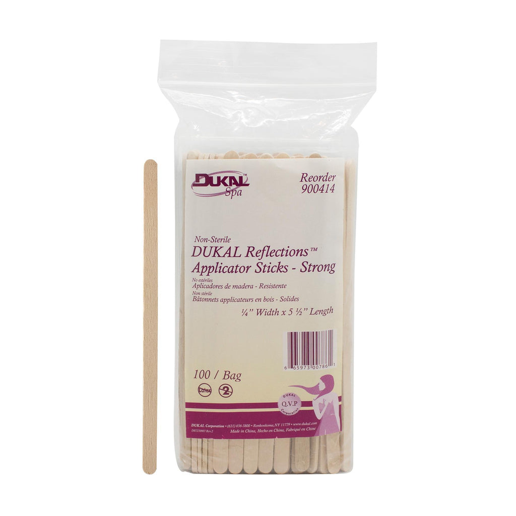 "Applicators & Bowls DUKAL Reflections NS Wood Applicator - 1/4"" x 5-1/2"" - 100 Pack"
