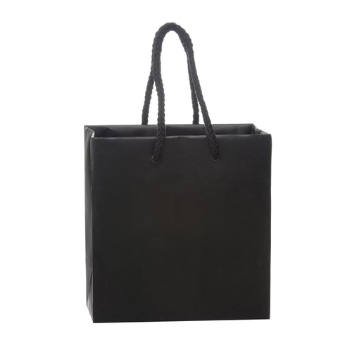 Image of Bags, Ribbons & Tissue Black / 6 x 3.5 x 6.5 in Eurotote with Rope Handle / Matte / 8in x 4in x 10in
