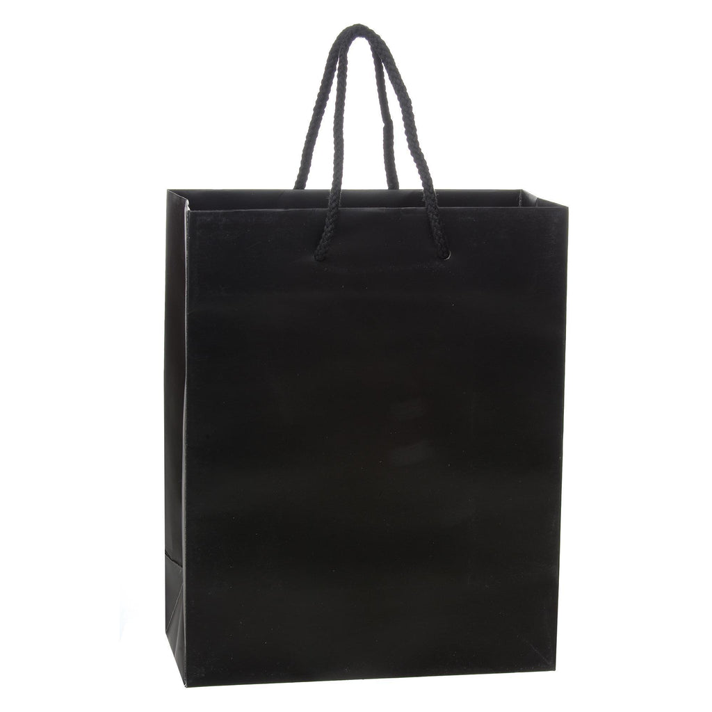 Bags, Ribbons & Tissue Black / 8 x 4 x 10 in Eurotote with Rope Handle / Matte / 8in x 4in x 10in