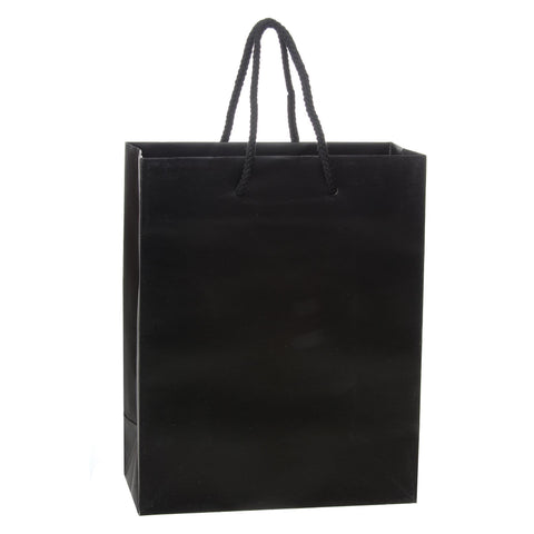 Image of Bags, Ribbons & Tissue Black / 8 x 4 x 10 in Eurotote with Rope Handle / Matte / 8in x 4in x 10in