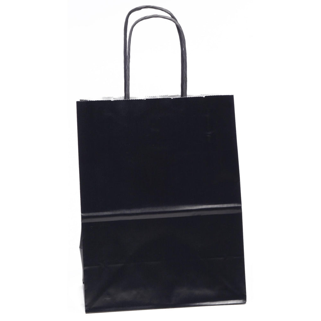 "Bags, Ribbons & Tissue Black Solid Solid Gift Bag 7.75"" x 3.75"" x 9.75"""