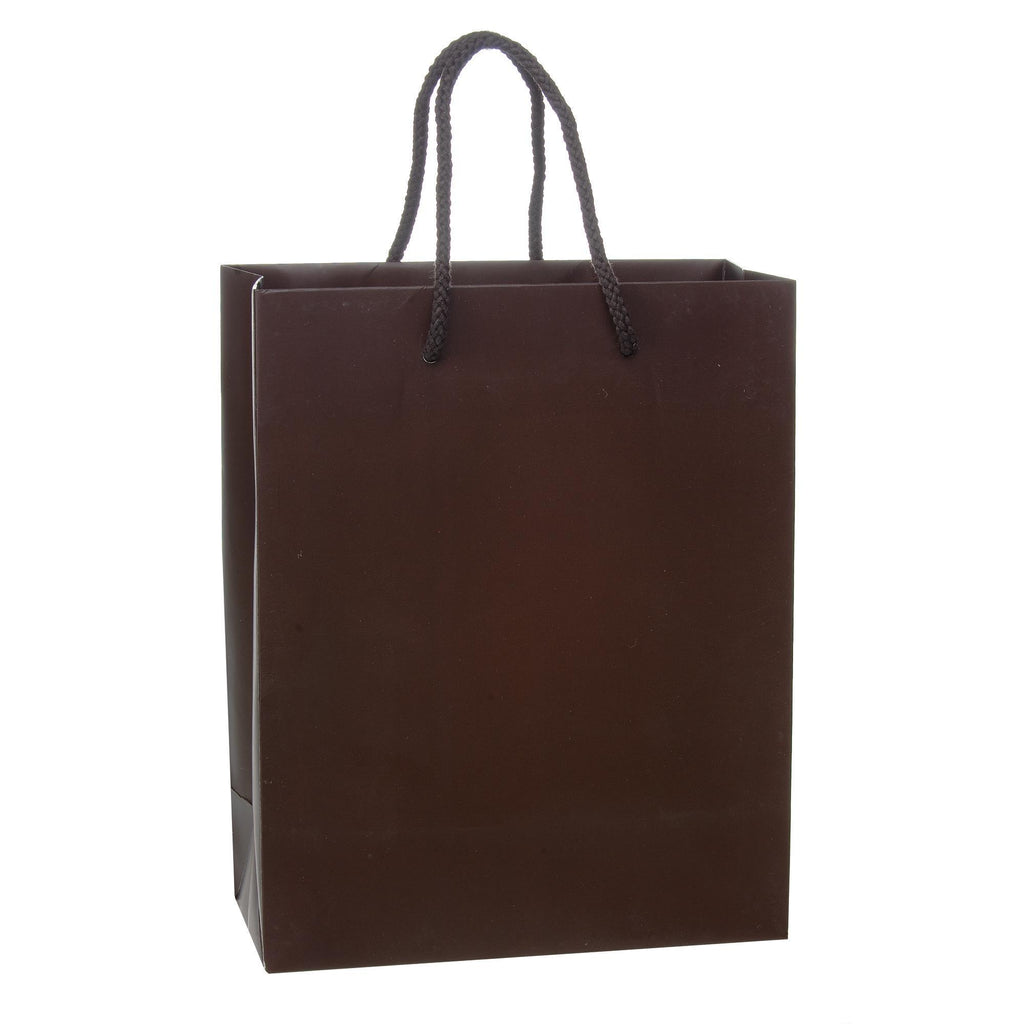 Bags, Ribbons & Tissue Chocolate / 8 x 4 x 10 in Eurotote with Rope Handle / Matte / 8in x 4in x 10in
