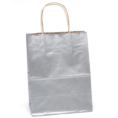 "Image of Bags, Ribbons & Tissue Silver Solid Solid Gift Bag 7.75"" x 3.75"" x 9.75"""