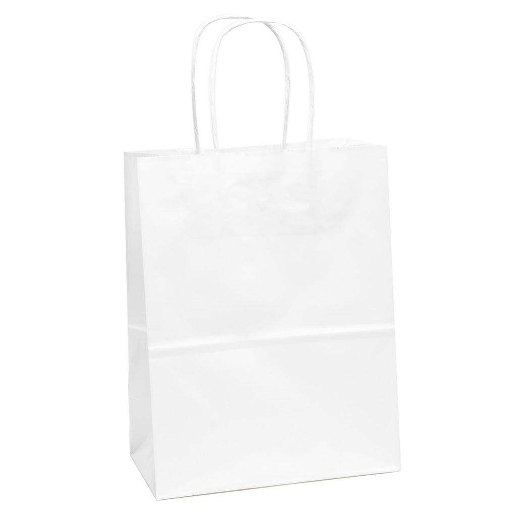 "Bags, Ribbons & Tissue White Solid Solid Gift Bag 7.75"" x 3.75"" x 9.75"""
