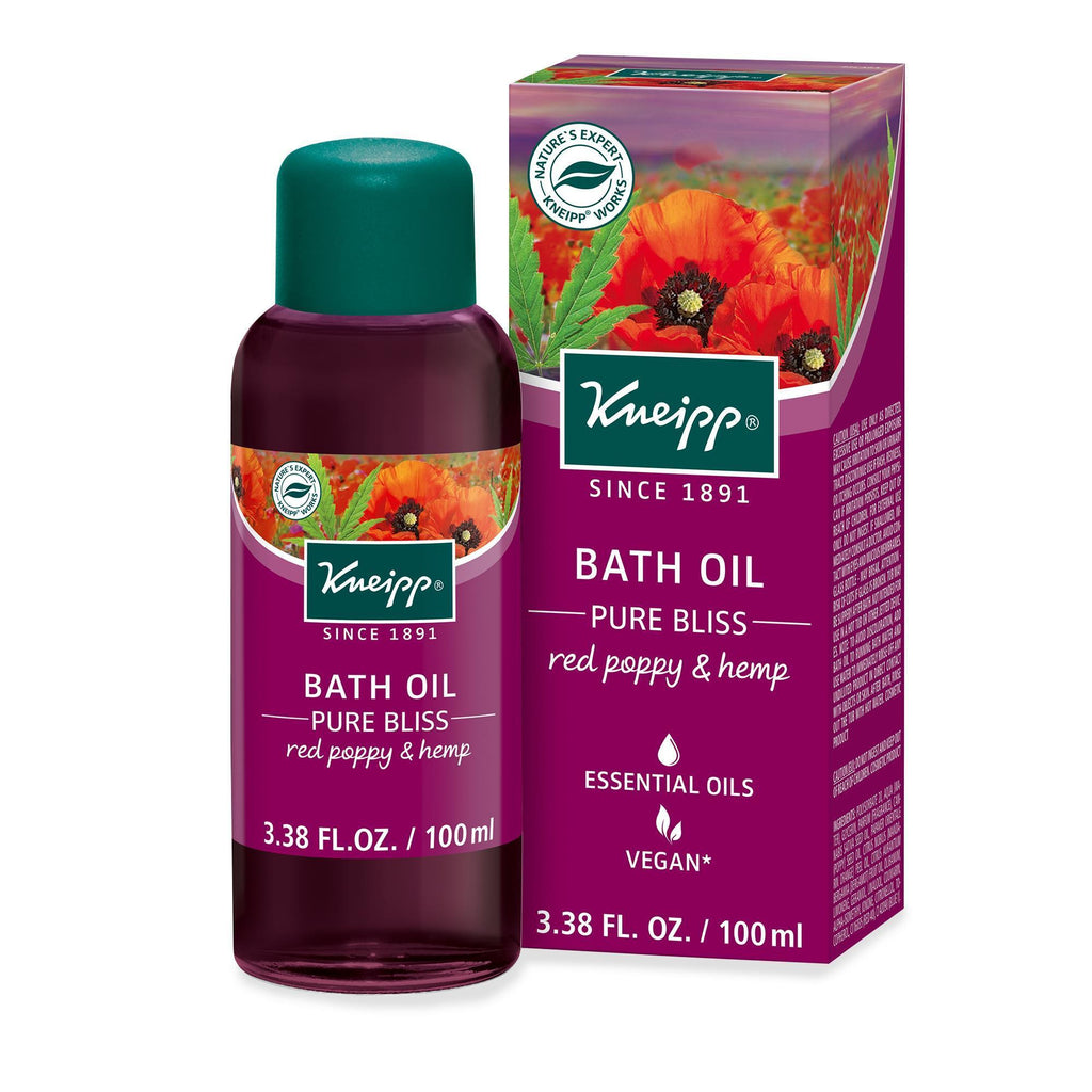 Body Washes, Soaks & Salts 3.38oz Kneipp Red Poppy & Hemp Bath Oil Pure Bliss