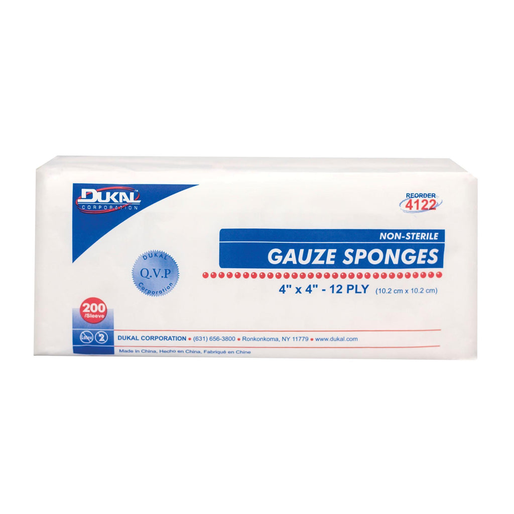 "Cotton Supplies & Wipes Non-Sterile, Gauze 4"" x 4"", 12-ply - 200 Pack"