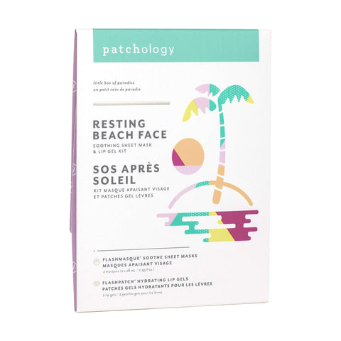 Image of Exfoliants, Peels, Masks & Scr Patchology Resting Beach Face Soothing Sheet Mask & Lip Gel Kit