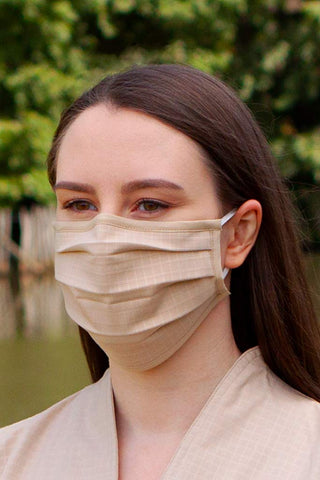 Image of Face Masks & Eyewear S/M / Wheat Solid Pleated Wellness Face Mask by Fashionizer Spa Uniforms