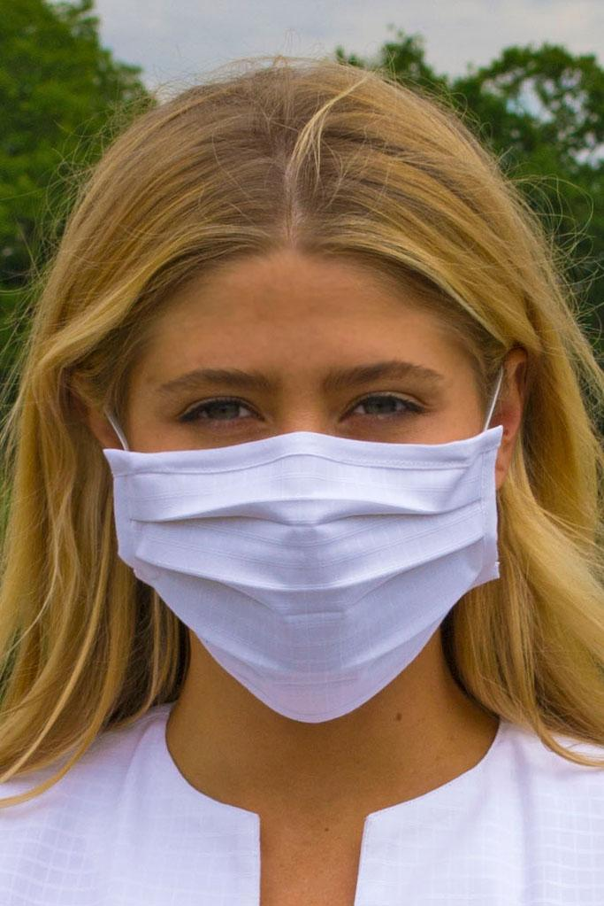 Face Masks & Eyewear S/M / White Solid Pleated Wellness Face Mask by Fashionizer Spa Uniforms