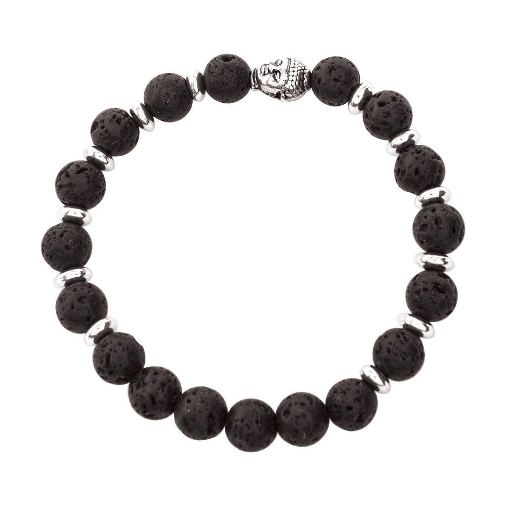 Jewelry Full Silver & Black Lava Bracelet