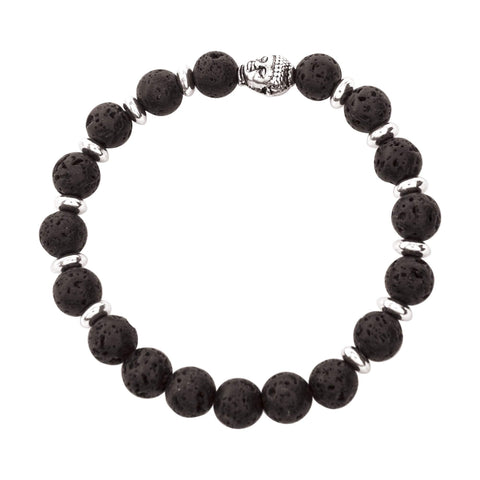 Image of Jewelry Full Silver & Black Lava Bracelet