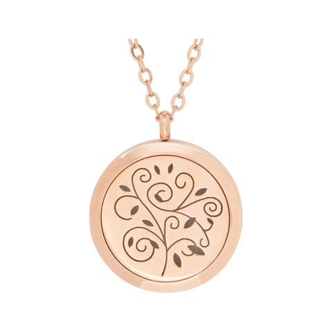 Image of Jewelry Stainless Steel Rose Gold Swirls Pendant