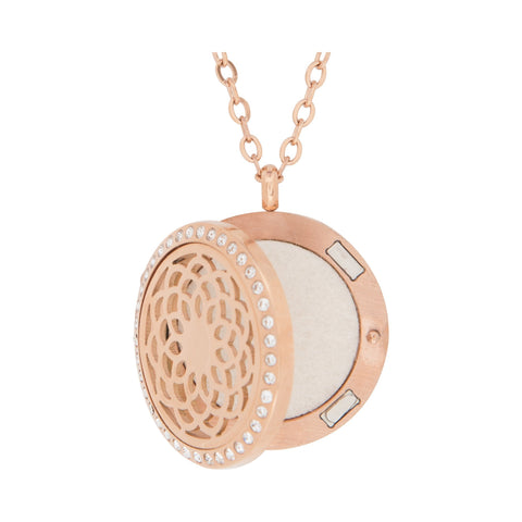 Image of Jewelry Stainless Steel Rose Gold Sunflower Crystal Pendant