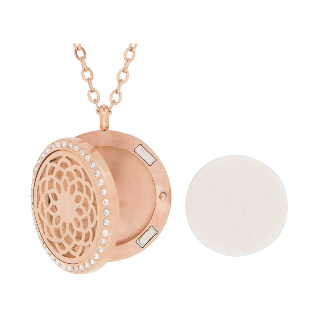 Jewelry Stainless Steel Rose Gold Sunflower Crystal Pendant