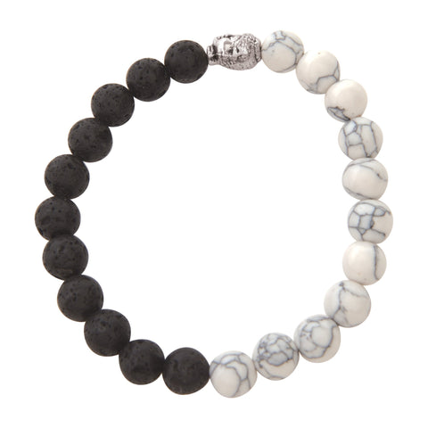 Image of Jewelry Black & White Marble Lava Bracelet
