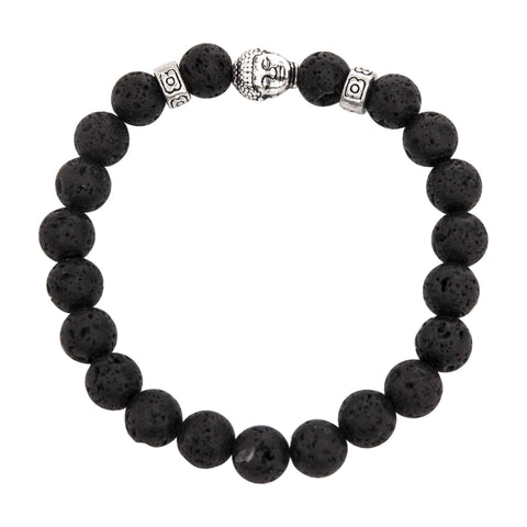 Image of Jewelry Partial Silver & Black Lava Bracelet