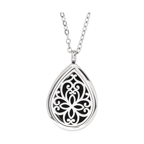 Image of Jewelry Stainless Steel Floral Tear Drop Pendant